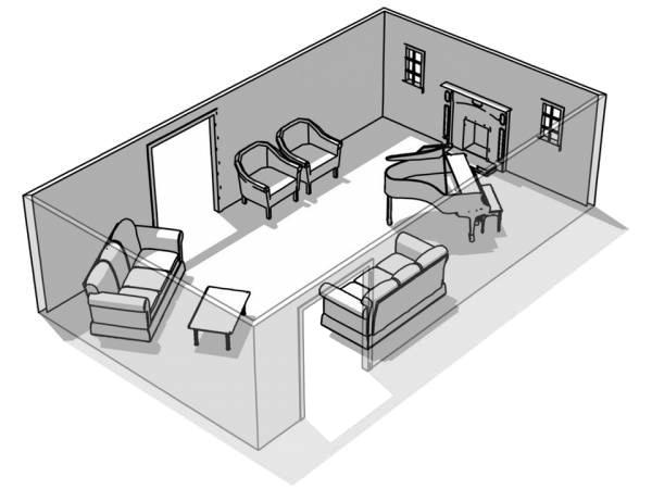 ассиметричная расстановка мебели